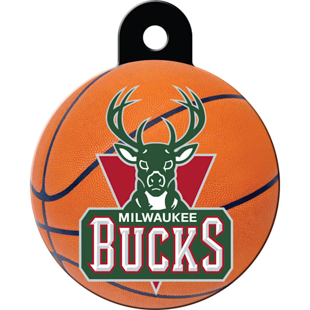 Quick-Tag Milwaukee Bucks NBA Circle Personalized Engraved Pet ID Tag, Large - Carousel image #1