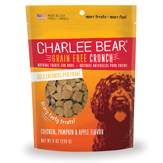 Charlee Bear Grain Free Chicken, Pumpkin & Apple Bear Crunch Dog Treats, 8 oz. - Carousel image #1