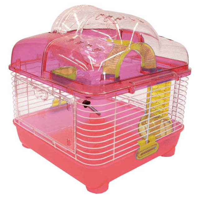 """YML Clear Pink Hamster Cage, 10"""" L X 10"""" W X 12"""" H - Carousel image #1"""