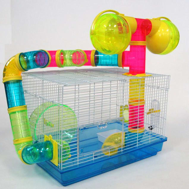 """YML Blue Tubed Hamster Cage, 18.5"""" L X 12"""" W X 22.5"""" H - Carousel image #1"""