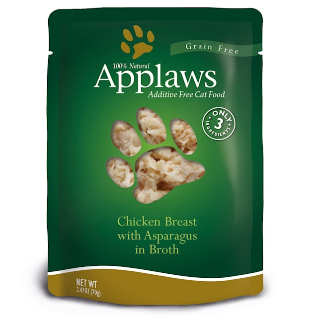 Applaws Chicken Breast with Asparagus in Broth Pouch Grain Free Cat Food, 2.47 oz. - Carousel image #1