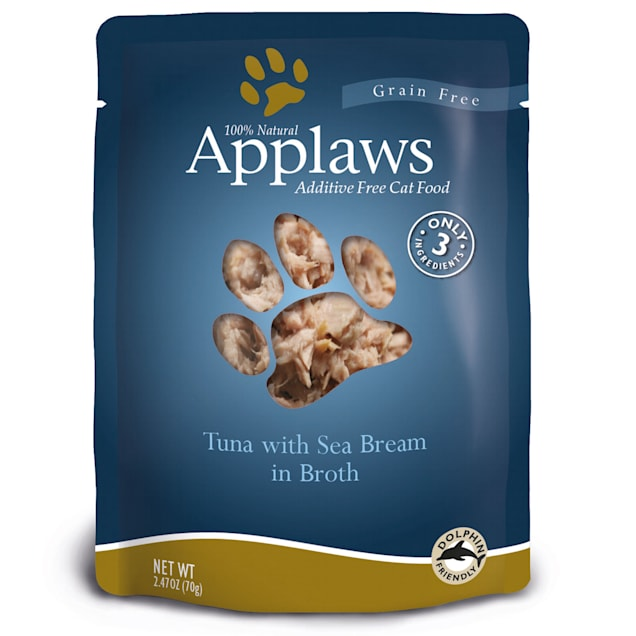 Applaws Tuna with Sea Bream in Broth Pouch Grain Free Cat Food, 2.47 oz. - Carousel image #1