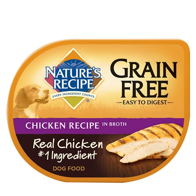 Nature's Recipe Grain Free Chicken in Broth Adult Dog Food Tray, 2.75 oz., Case of 12 - Carousel image #1