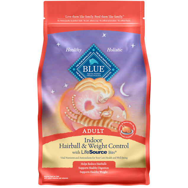 Blue Buffalo Blue Indoor Hairball & Weight Control Adult Chicken & Brown Rice Recipe Dry Cat Food, 3 lbs. - Carousel image #1