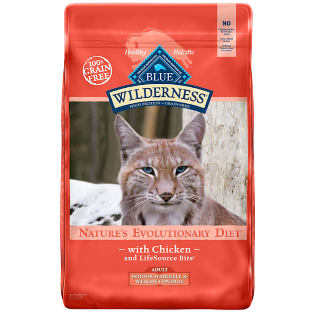 Blue Buffalo Wilderness Natural Adult High Protein Grain Free Indoor Hairball & Weight Control Chicken Dry Cat Food, 11 lbs. - Carousel image #1