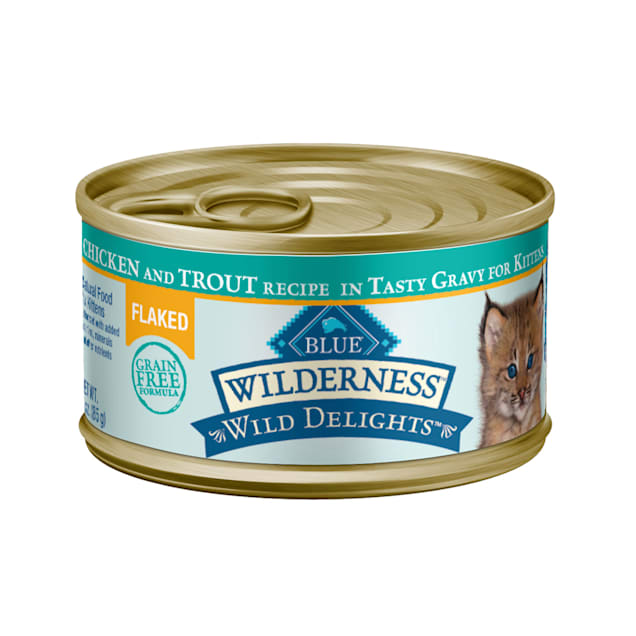 Blue Buffalo Blue Wilderness Wild Delights Kitten Flaked Chicken & Trout Wet Cat Food, 3 oz., Case of 24 - Carousel image #1