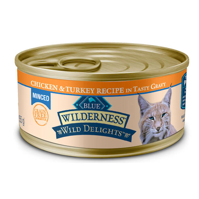 Blue Buffalo Blue Wilderness Wild Delights Adult Minced Chicken & Turkey Recipe Wet Cat Food, 5.5 oz., Case of 24 - Carousel image #1