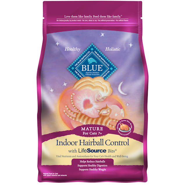 Blue Buffalo Blue Indoor Hairball Control Mature Chicken & Brown Rice Recipe Dry Cat Food, 7 lbs. - Carousel image #1