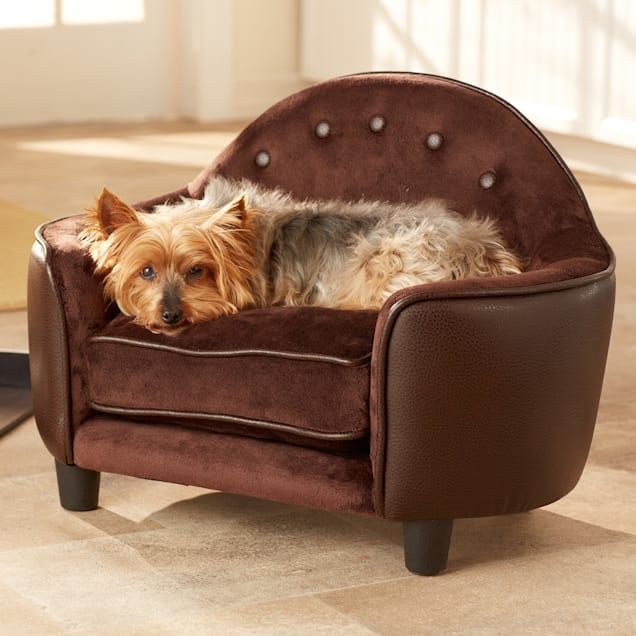 "Enchanted Home Pet Plush Headboard Dog Bed in Brown, 26.5"" L x 16"" W - Carousel image #1"