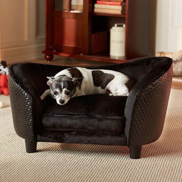 "Enchanted Home Pet Ultra Basketweave Plush Dog Bed in Black, 26.5"" x 16"" - Carousel image #1"