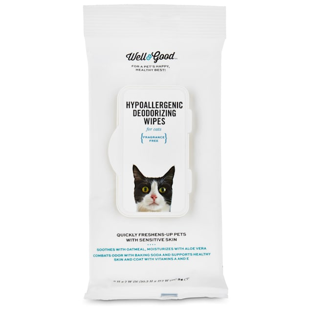 Well & Good Hypoallergenic Deodorizing Cat Wipes, Pack of 100 wipes - Carousel image #1