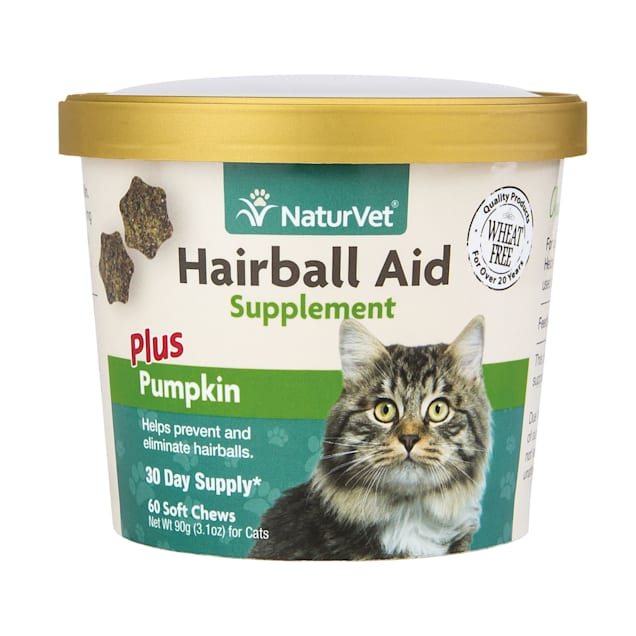 NaturVet Cat Hairball Aid Supplement, Pack of 60 Soft Chews - Carousel image #1