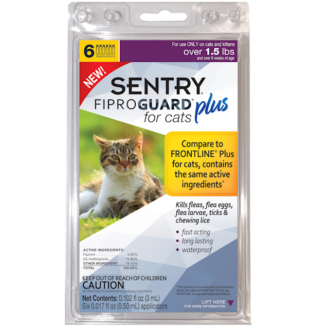 Sentry FIPROGUARD PLUS for Cats & Kittens Over 1.5 lbs. Topical Flea & Tick Treatment, 6 Month Supply - Carousel image #1
