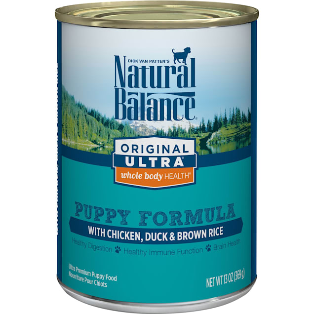 Natural Balance Puppy Formula Original Ultra Whole Body Health Chicken, Duck & Brown Rice Wet Dog Food, 13 oz., Case of 12 - Carousel image #1