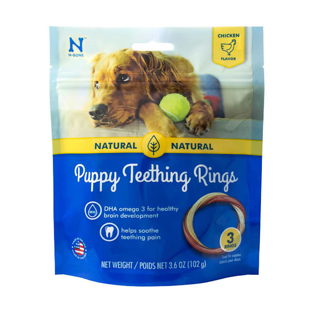 N-Bone Puppy Teething Ring 3-Pack Chicken Chew Treats, 3.6 oz. - Carousel image #1