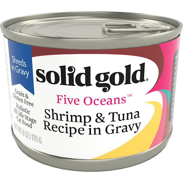Solid Gold Five Oceans Shrimp & Tuna Grain Free Canned Cat Food, 6 oz., Case of 8 - Carousel image #1