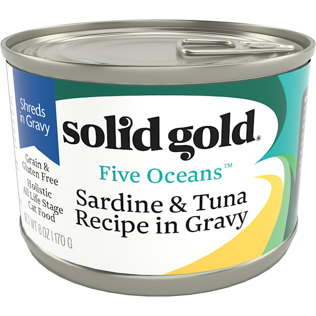 Solid Gold Five Oceans Sardine & Tuna Grain Free Canned Cat Food, 6 oz., Case of 8 - Carousel image #1