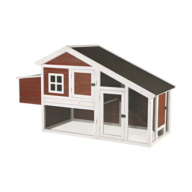 Trixie Natura Peak Roof Red Chicken Coop with Outdoor Run - Carousel image #1
