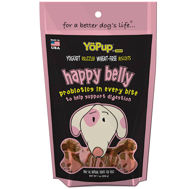 YoPup by Yoghund Happy Belly Wheat Free Yogurt Drizzled Biscuits 7oz Bag - Carousel image #1