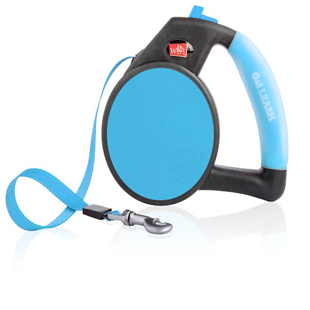 Wigzi Gel Retractable Blue Dog Leash, Small, For Dogs up to 26 lbs. - Carousel image #1