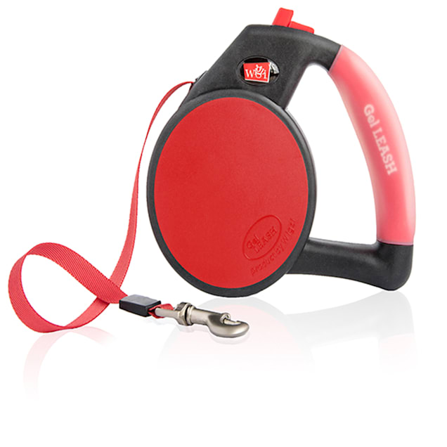 Wigzi Gel Retractable Red Dog Leash, Small, For Dogs up to 26 lbs. - Carousel image #1