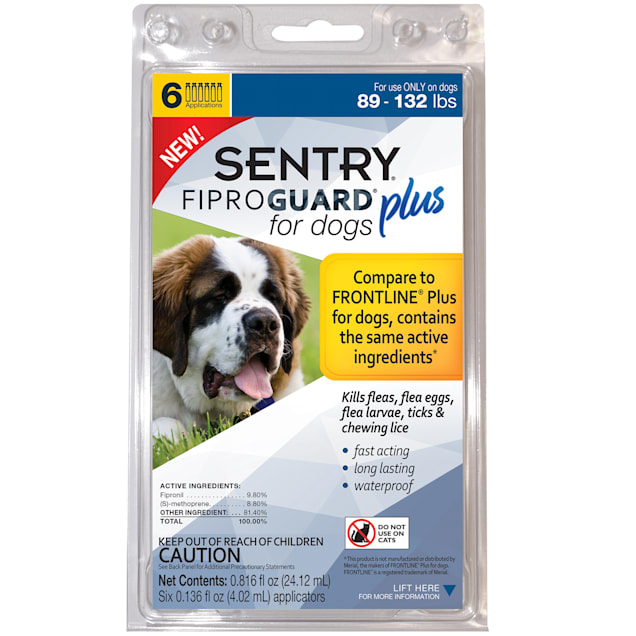 Sentry FIPROGUARD PLUS for Dogs & Puppies 89-132 lbs. Topical Flea & Tick Treatment, 6 Month Supply - Carousel image #1