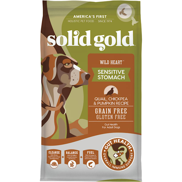 Solid Gold Grain-Free & Gluten Free Wild Heart with Natural Quail, Chickpea & Pumpkin Adult Dry Dog Food, 24 lbs. - Carousel image #1