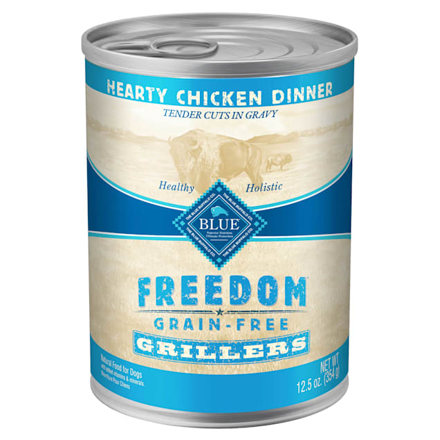 Blue Buffalo Blue Freedom Grain Free Chicken Grillers Canned Dog Food, 12.5 oz., Case of 12 - Carousel image #1