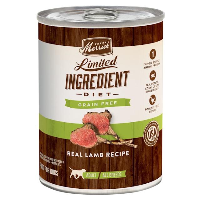 Merrick Limited Ingredient Diet Grain Free Real Lamb Recipe Wet Dog Food, 12.7 oz., Case of 12 - Carousel image #1