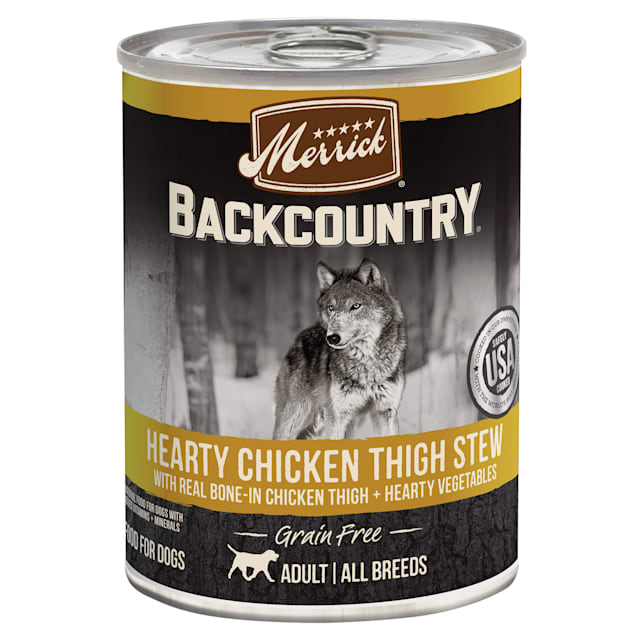 Merrick Backcountry Hearty Chicken Thigh Stew Grain Free Wet Dog Food, 12.7 oz., Case of 12 - Carousel image #1
