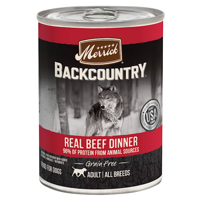 Merrick Backcountry Grain Free 96% Real Beef Dinner Wet Dog Food, 12.7 oz., Case of 12 - Carousel image #1
