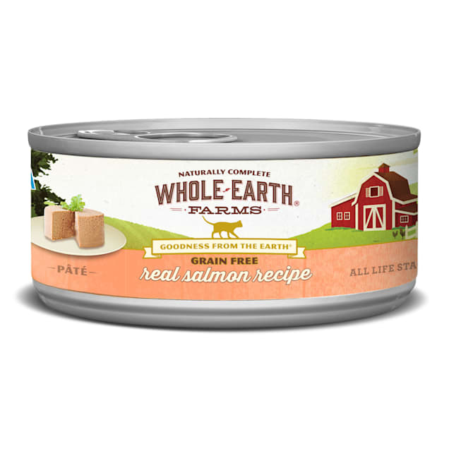 Whole Earth Farms Grain Free Real Salmon Canned Cat Food, 5 oz., Case of 24 - Carousel image #1