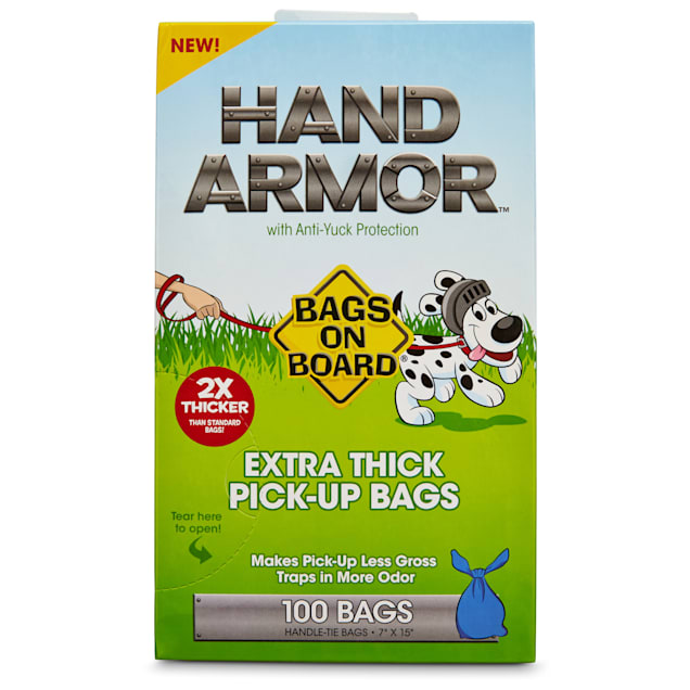 Bags on Board Hand Armor Extra Thick Dog Waste Pick-Up Bags, 100 count - Carousel image #1