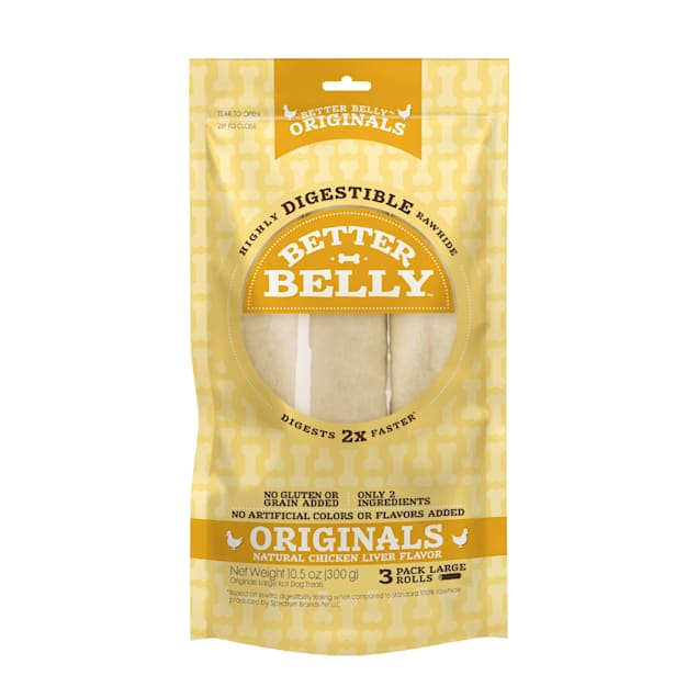 Better Belly Chicken Liver Rawhide Rolls Large Dog Chews - Carousel image #1