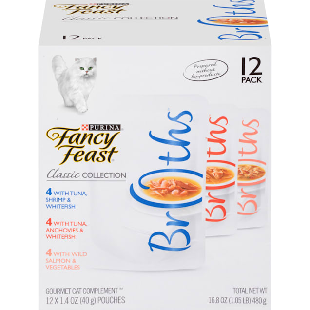 Fancy Feast Broths Classic Collection Wet Cat Food Complement Variety Pack, 1.4 oz., Count of 12 - Carousel image #1