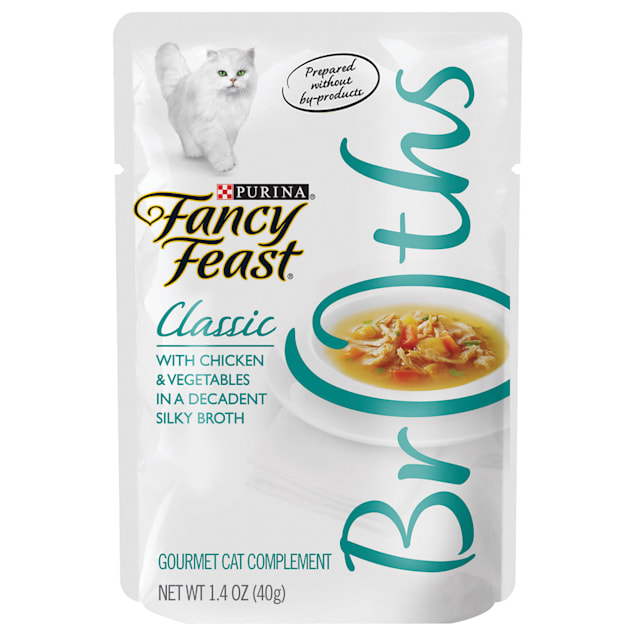 Fancy Feast Broths Classic Chicken & Vegetables Cat Food Complement, 1.4 oz., Case of 16 - Carousel image #1