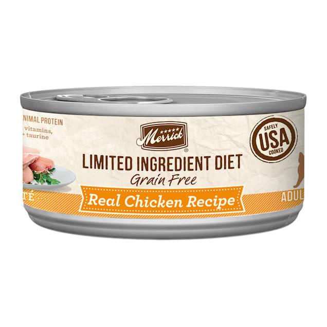 Merrick Limited Ingredient Diet Grain Free Real Chicken Recipe Pate Wet Cat Food, 5 oz., Case of 24 - Carousel image #1