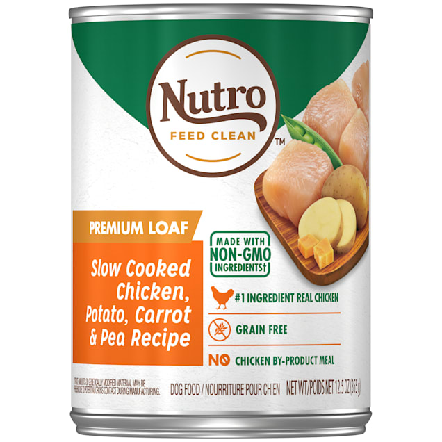 Nutro Premium Loaf Slow Cooked Chicken, Potato, Carrot & Pea Recipe Adult Canned Wet Dog Food, 12.5 oz., Case of 12 - Carousel image #1