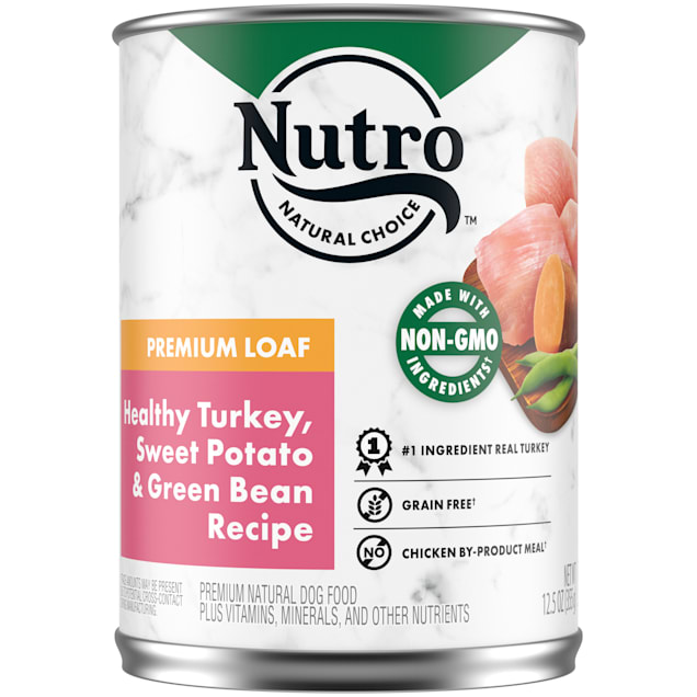 Nutro Premium Loaf Healthy Turkey, Sweet Potato & Green Bean Recipe Adult Canned Wet Dog Food, 12.5 oz., Case of 12 - Carousel image #1