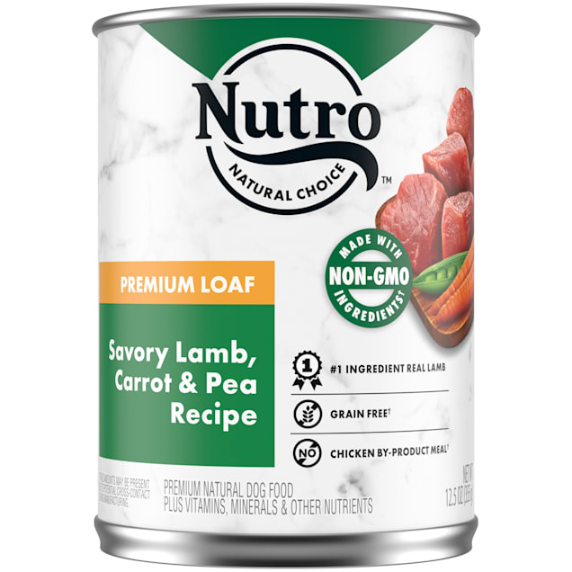 Nutro Premium Loaf Savory Lamb, Carrot & Pea Recipe Adult Canned Wet Dog Food, 12.5 oz., Case of 12 - Carousel image #1