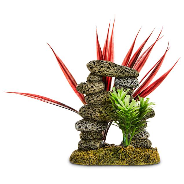 """Imagitarium Stacked Stones & Plants Aquarium Ornament, 3.5"""" L X 3"""" W X 4"""" H - Carousel image #1"""