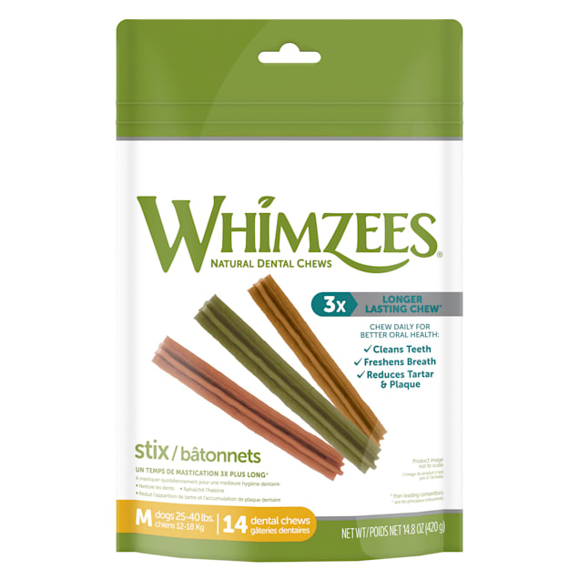 Whimzees Natural Grain Free Daily Dental Long Lasting Stix Medium Dog Treats, 14.8 oz., Pack of 14 - Carousel image #1
