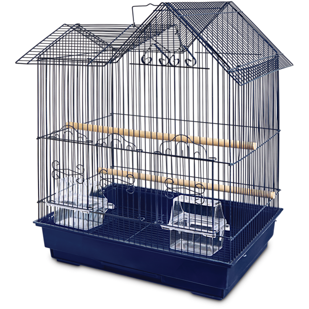 You & Me Parakeet Ranch House Cage, Navy - Carousel image #1