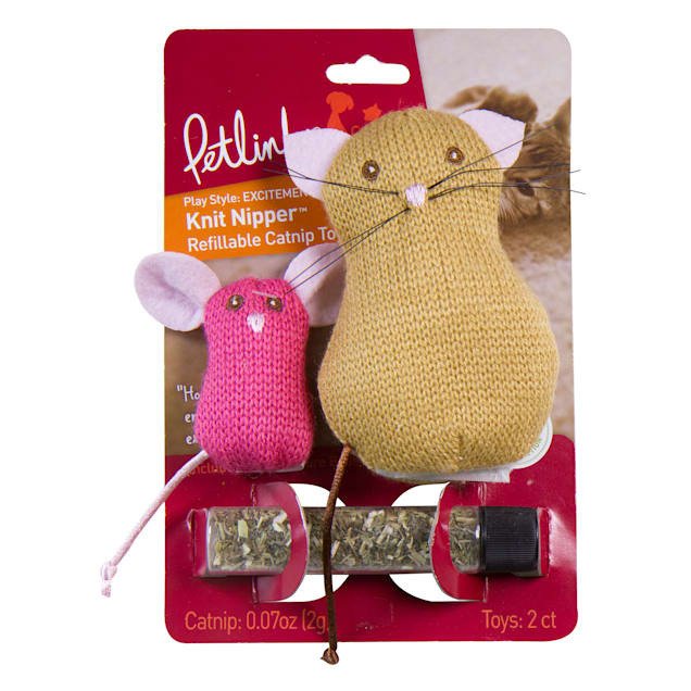 Petlinks Knit Nipper Cat & Mouse Refillable Catnip Toys, Small - Carousel image #1