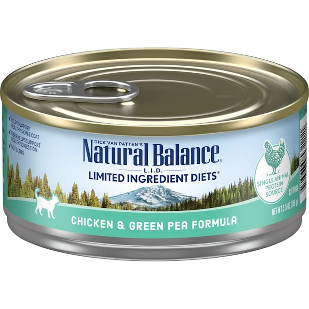 Natural Balance L.I.D. Limited Ingredient Diets Chicken & Green Pea Formula Wet Cat Food, 5.5 oz., Case of 24 - Carousel image #1