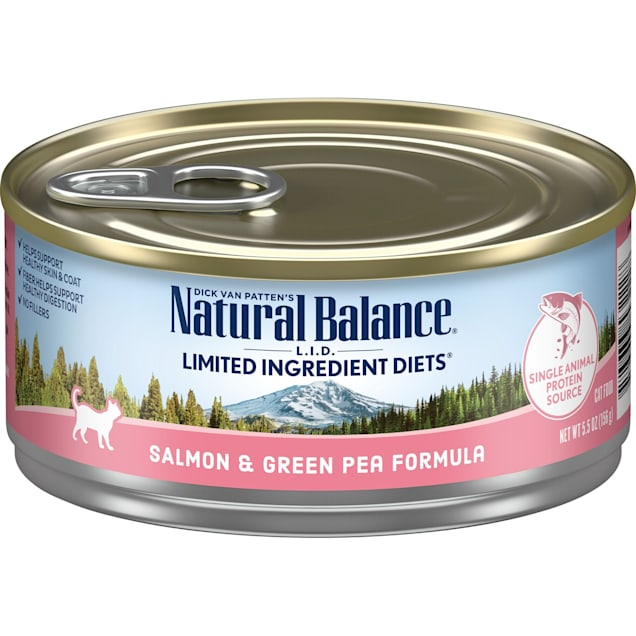 Natural Balance L.I.D. Limited Ingredient Diets Salmon & Green Pea Formula Wet Cat Food, 5.5 oz., Case of 24 - Carousel image #1