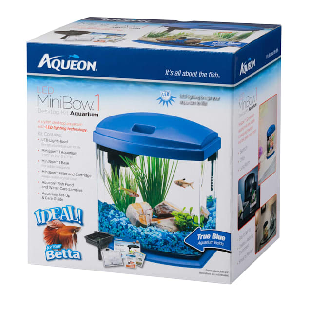 Aqueon 1 Gallon MiniBow LED Desktop Fish Aquarium Kit, Blue - Carousel image #1