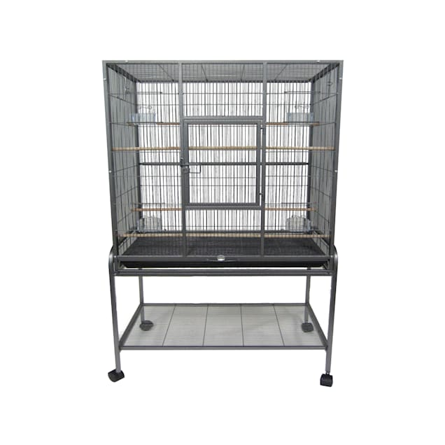 "YML Antique Silver Aviary Bird Cage, 31"" L X 19"" W X 61"" H - Carousel image #1"