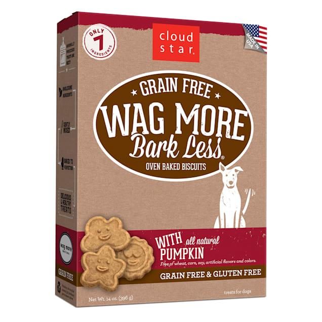 Cloud Star Wag More Bark Less Oven Baked Grain Free Pumpkin Dog Treats, 14 oz. - Carousel image #1