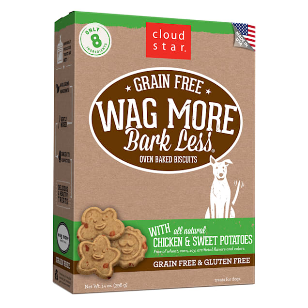 Cloud Star Wag More Bark Less Oven Baked Grain Free Chicken & Sweet Potatoes Dog Treats, 14 oz. - Carousel image #1